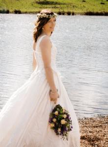 bride on lake edge (1)