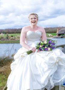 bride on waterfall